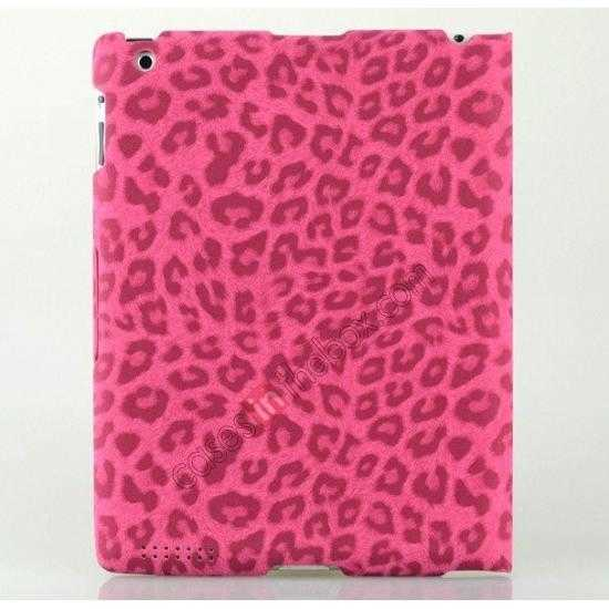 cheap High quality Leather Ultrathin Leopard Print Protective Case with Stand Function for iPad 2, the new iPad, iPad 4 - Rose