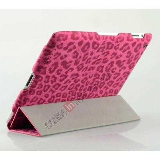 top quality High quality Leather Ultrathin Leopard Print Protective Case with Stand Function for iPad 2, the new iPad, iPad 4 - Rose