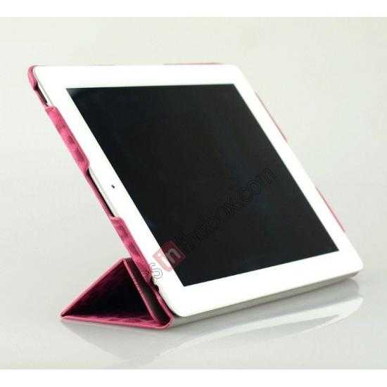 best price High quality Leather Ultrathin Leopard Print Protective Case with Stand Function for iPad 2, the new iPad, iPad 4 - Rose