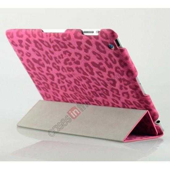 wholesale High quality Leather Ultrathin Leopard Print Protective Case with Stand Function for iPad 2, the new iPad, iPad 4 - Rose