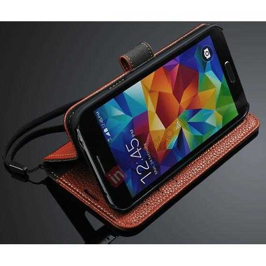 discount High Quality Lichi Stripes Stand Leather Case For Samsung Galaxy S5 - Black