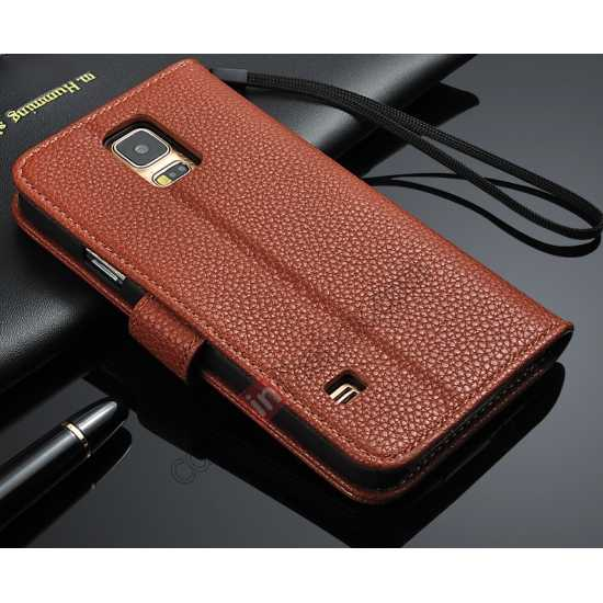 wholesale High Quality Lichi Stripes Stand Leather Case For Samsung Galaxy S5 - Brown