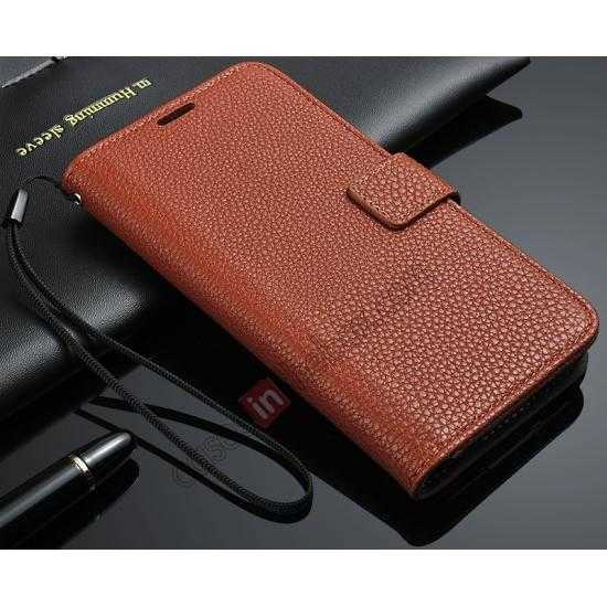 discount High Quality Lichi Stripes Stand Leather Case For Samsung Galaxy S5 - Brown