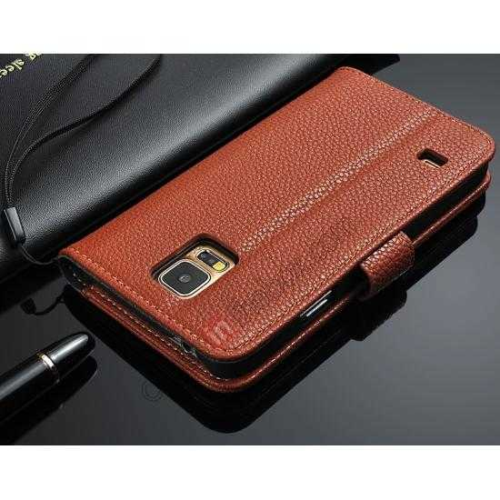 cheap High Quality Lichi Stripes Stand Leather Case For Samsung Galaxy S5 - Brown