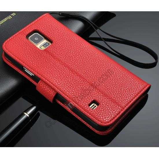 wholesale High Quality Lichi Stripes Stand Leather Case For Samsung Galaxy S5 - Red