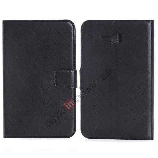 wholesale High Quality Magnetic Slim Crazy Horse Leather Stand Case for Samsung Galaxy Tab 3 Lite 7 T110 - Black