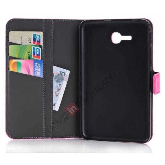 low price High Quality Magnetic Slim Crazy Horse Leather Stand Case for Samsung Galaxy Tab 3 Lite 7 T110 - Black
