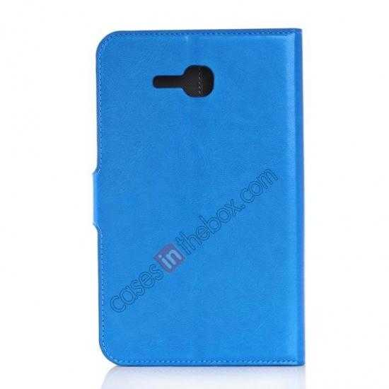 cheap High Quality Magnetic Slim Crazy Horse Leather Stand Case for Samsung Galaxy Tab 3 Lite 7 T110 - Blue