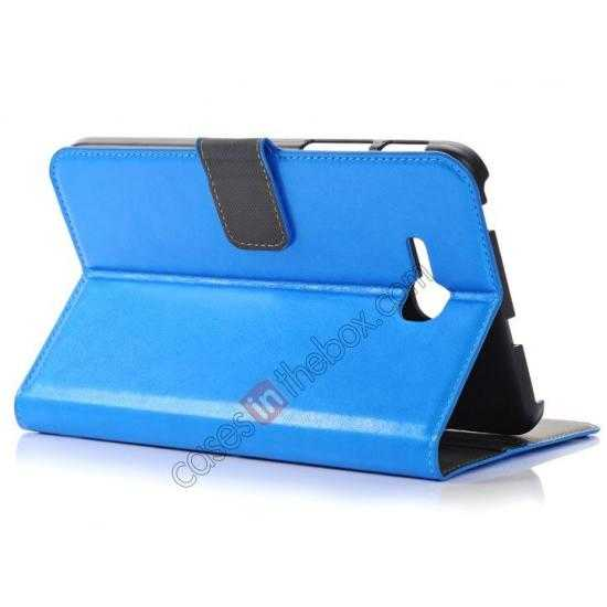 top quality High Quality Magnetic Slim Crazy Horse Leather Stand Case for Samsung Galaxy Tab 3 Lite 7 T110 - Blue