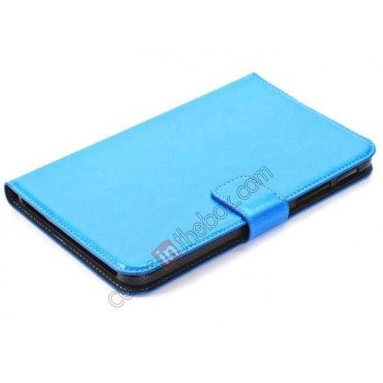 best price High Quality Magnetic Slim Crazy Horse Leather Stand Case for Samsung Galaxy Tab 3 Lite 7 T110 - Blue