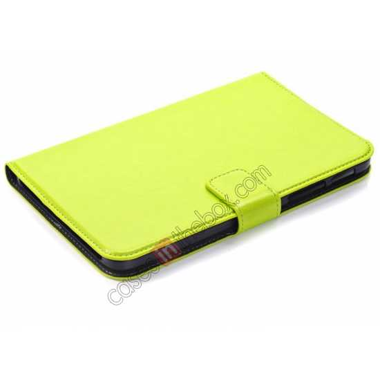 best price High Quality Magnetic Slim Crazy Horse Leather Stand Case for Samsung Galaxy Tab 3 Lite 7 T110 - Green