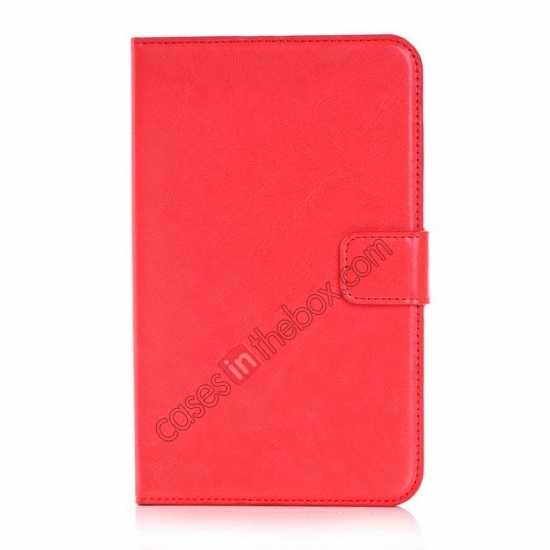discount High Quality Magnetic Slim Crazy Horse Leather Stand Case for Samsung Galaxy Tab 3 Lite 7 T110 - Red