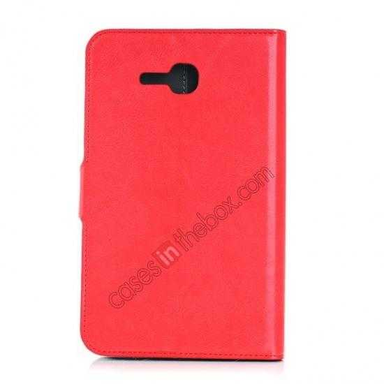 cheap High Quality Magnetic Slim Crazy Horse Leather Stand Case for Samsung Galaxy Tab 3 Lite 7 T110 - Red