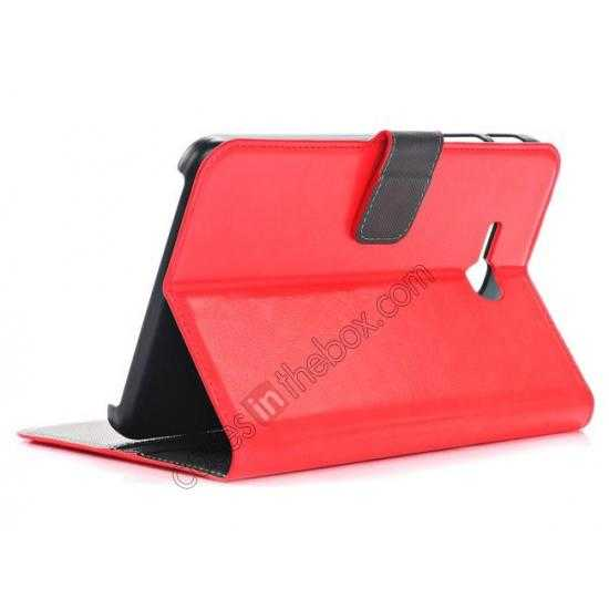 top quality High Quality Magnetic Slim Crazy Horse Leather Stand Case for Samsung Galaxy Tab 3 Lite 7 T110 - Red