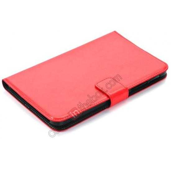 best price High Quality Magnetic Slim Crazy Horse Leather Stand Case for Samsung Galaxy Tab 3 Lite 7 T110 - Red