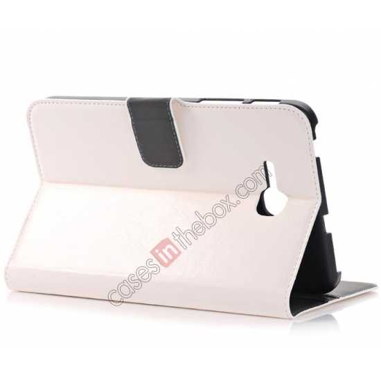 top quality High Quality Magnetic Slim Crazy Horse Leather Stand Case for Samsung Galaxy Tab 3 Lite 7 T110 - White
