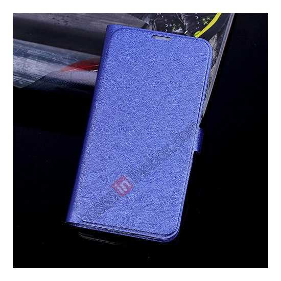wholesale High Quality Silk Grain Wallet PU Leather Case With card for Samsung Galaxy S5 - Blue