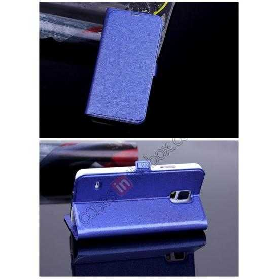 cheap High Quality Silk Grain Wallet PU Leather Case With card for Samsung Galaxy S5 - Blue