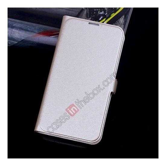 wholesale High Quality Silk Grain Wallet PU Leather Case With card for Samsung Galaxy S5 - Golden