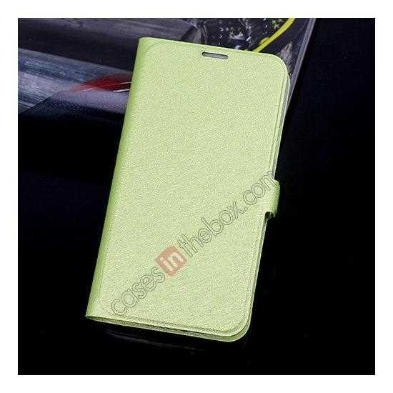 wholesale High Quality Silk Grain Wallet PU Leather Case With card for Samsung Galaxy S5 - Green