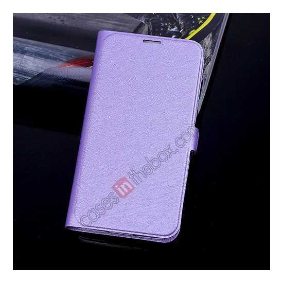 wholesale High Quality Silk Grain Wallet PU Leather Case With card for Samsung Galaxy S5 - Purple