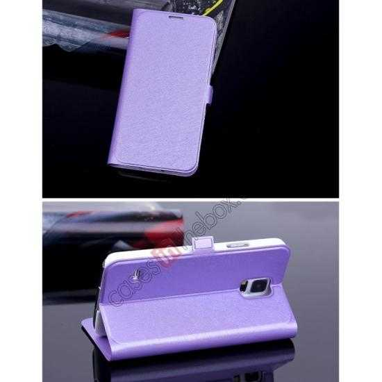 cheap High Quality Silk Grain Wallet PU Leather Case With card for Samsung Galaxy S5 - Purple