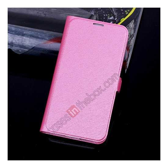 wholesale High Quality Silk Grain Wallet PU Leather Case With card for Samsung Galaxy S5 - Rose