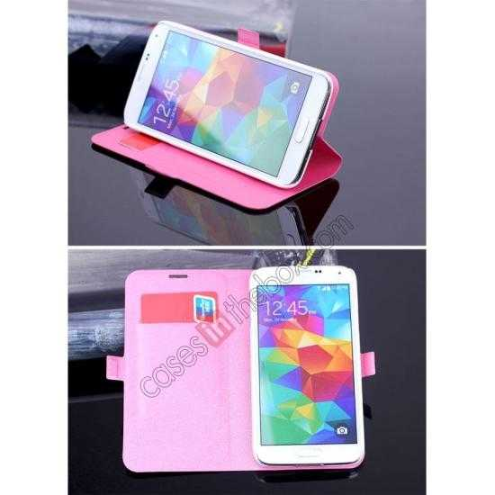 discount High Quality Silk Grain Wallet PU Leather Case With card for Samsung Galaxy S5 - Rose