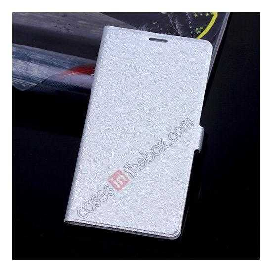 wholesale High Quality Silk Grain Wallet PU Leather Case With card for Samsung Galaxy S5 - Silver