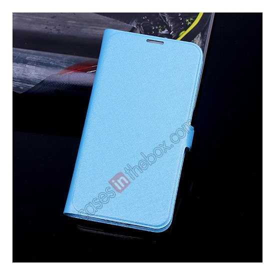 wholesale High Quality Silk Grain Wallet PU Leather Case With card for Samsung Galaxy S5 - Sky Blue