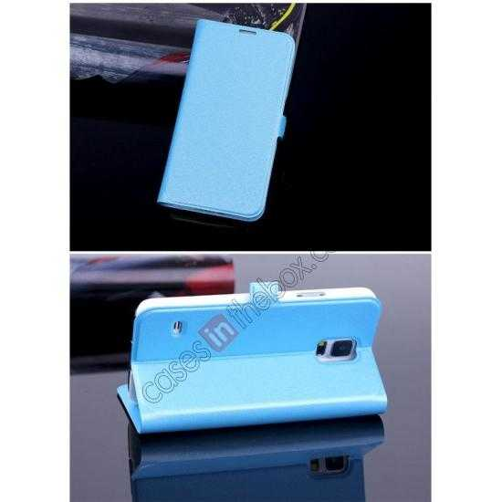 cheap High Quality Silk Grain Wallet PU Leather Case With card for Samsung Galaxy S5 - Sky Blue