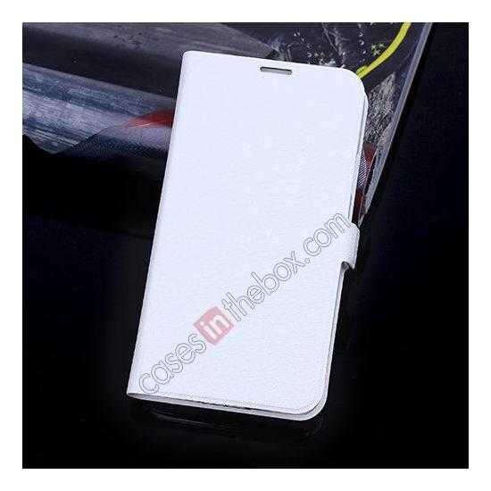 wholesale High Quality Silk Grain Wallet PU Leather Case With card for Samsung Galaxy S5 - White