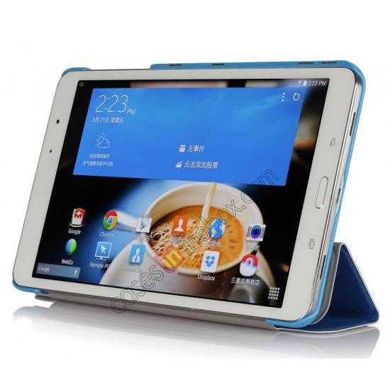 discount High quality Ultra Slim Tri Fold Leather Case Cover for Samsung Galaxy Tab Pro 8.4 T320 - Blue