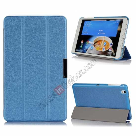 wholesale High quality Ultra Slim Tri Fold Leather Case Cover for Samsung Galaxy Tab Pro 8.4 T320 - Blue