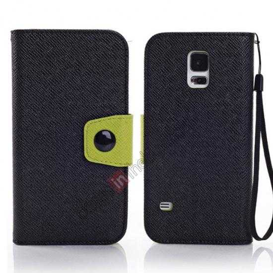 wholesale Hit Contrast Color Leather Stand Case Samsung Galaxy S5 G900 with Credit Card Slots - Black