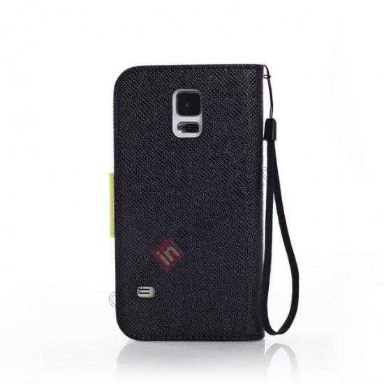 cheap Hit Contrast Color Leather Stand Case Samsung Galaxy S5 G900 with Credit Card Slots - Black