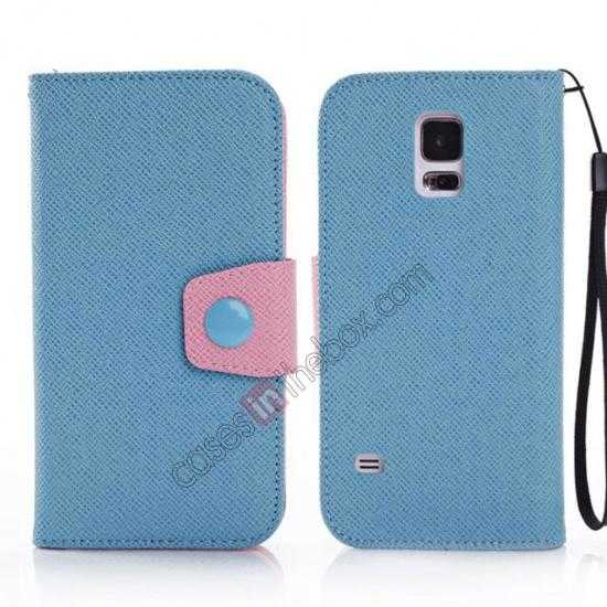 wholesale Hit Contrast Color Leather Stand Case Samsung Galaxy S5 G900 with Credit Card Slots - Blue