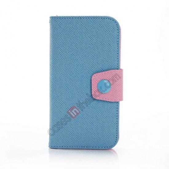 discount Hit Contrast Color Leather Stand Case Samsung Galaxy S5 G900 with Credit Card Slots - Blue