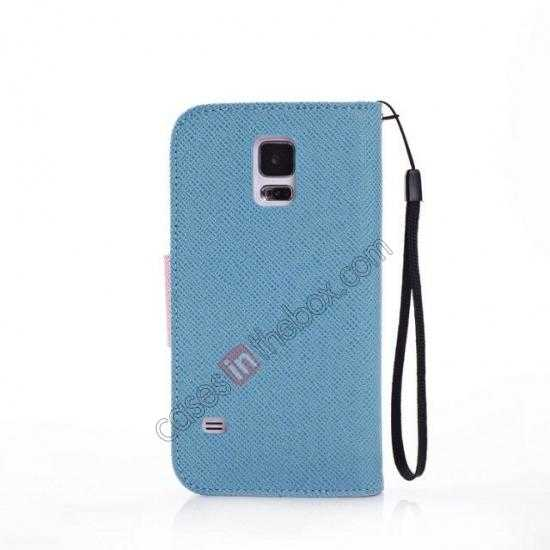 cheap Hit Contrast Color Leather Stand Case Samsung Galaxy S5 G900 with Credit Card Slots - Blue