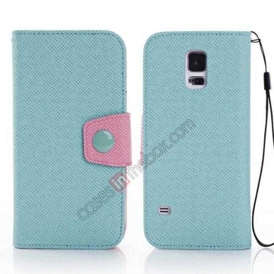wholesale Hit Contrast Color Leather Stand Case Samsung Galaxy S5 G900 with Credit Card Slots - Cyan