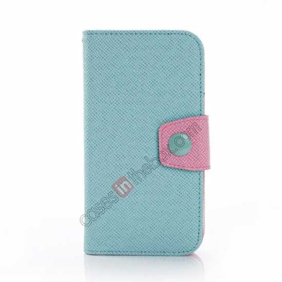 discount Hit Contrast Color Leather Stand Case Samsung Galaxy S5 G900 with Credit Card Slots - Cyan