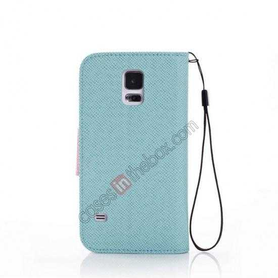cheap Hit Contrast Color Leather Stand Case Samsung Galaxy S5 G900 with Credit Card Slots - Cyan