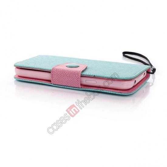 low price Hit Contrast Color Leather Stand Case Samsung Galaxy S5 G900 with Credit Card Slots - Cyan