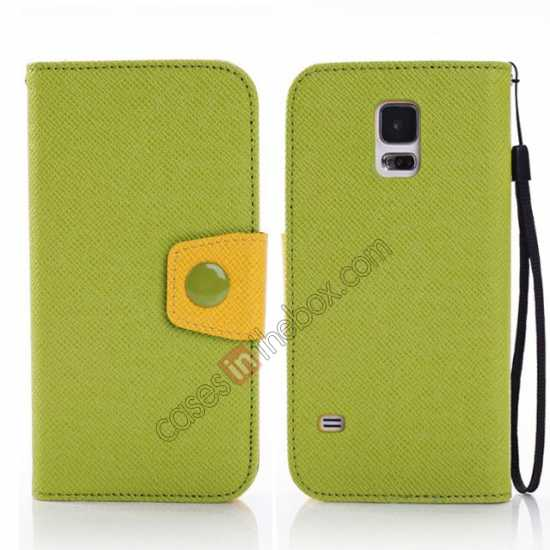 wholesale Hit Contrast Color Leather Stand Case Samsung Galaxy S5 G900 with Credit Card Slots - Green