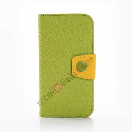 discount Hit Contrast Color Leather Stand Case Samsung Galaxy S5 G900 with Credit Card Slots - Green