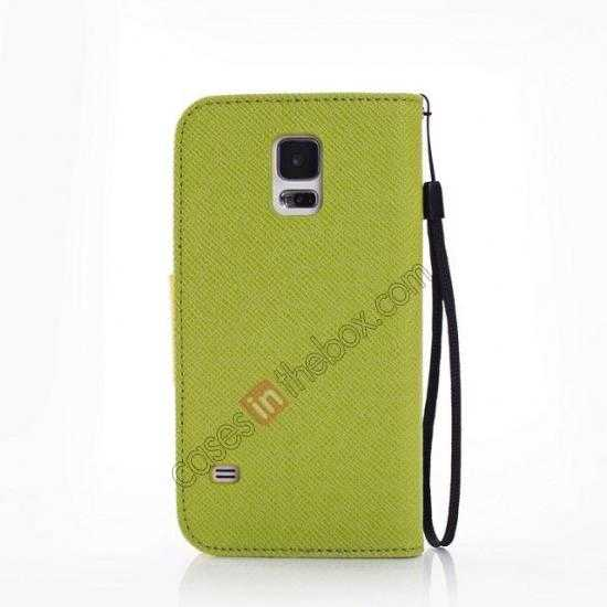 cheap Hit Contrast Color Leather Stand Case Samsung Galaxy S5 G900 with Credit Card Slots - Green