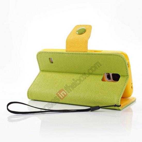 top quality Hit Contrast Color Leather Stand Case Samsung Galaxy S5 G900 with Credit Card Slots - Green