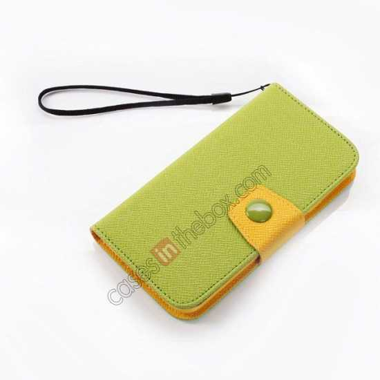 best price Hit Contrast Color Leather Stand Case Samsung Galaxy S5 G900 with Credit Card Slots - Green