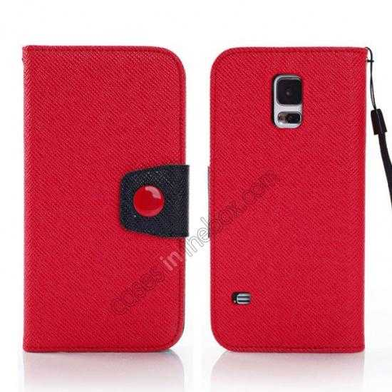 wholesale Hit Contrast Color Leather Stand Case Samsung Galaxy S5 G900 with Credit Card Slots - Red/Black