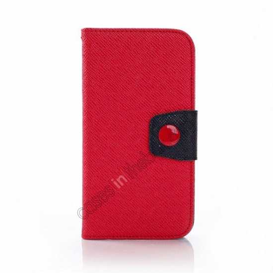discount Hit Contrast Color Leather Stand Case Samsung Galaxy S5 G900 with Credit Card Slots - Red/Black